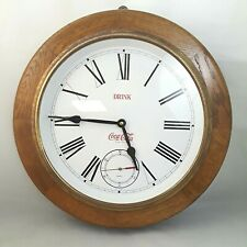 Coca Cola Wood and Brass Clock w/ Sub Seconds Dial Large Round Roman Numerals