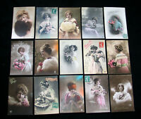 LOT A11 : 15 CPA FEMME CHARME 1900 MISS PIN-UP MODE HIVER FOURRURE FASHION LADY
