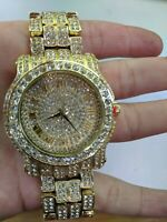 Fully Iced Men Watch Bling Rapper Simulate Diamond GOLD Hip Luxury Club Party