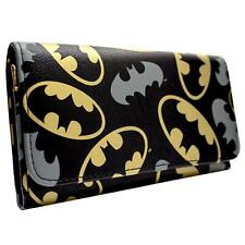 NEW OFFICIAL DC BATMAN GOLD & GREY EMBLEMS BLACK TRI-FOLD PURSE