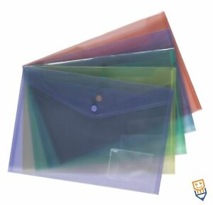 15 A4 POPPER WALLETS Plastic Document Folders ENVELOPE Stud ASSORTED COLOURS