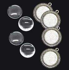 4 SET Fassungen Antik Silber Anhänger Cabochon Klar Glas 25mm Schmuckherstellung