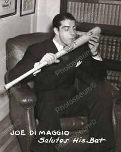 "Joe DiMaggio Kisses Baseball Bat 1900s 8"" - 10"" B&W Photo Reprint"