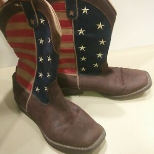 Roper American Patriotic Square Toe Kids Boys Size 3 Western Cowboy Boots