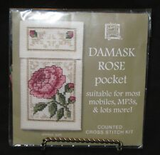 """Damask Rose """"Pocket"""" Pink Counted Cross Stitch Kit by Textile Heritage MPDR"""
