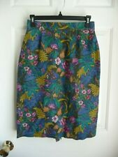 GEIGER Skirt 36 Pencil Straight 100% Linen Floral Made in Austria Sexy Lined