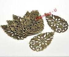 6pz charms ciondolo filigrana goccia colore bronzo 6,8x4cm lead, nickel free