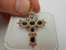 Large Vintage Estate 18k Yellow Gold Natural Blue Sapphire & Ruby Cross Pendant