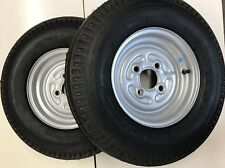 Pair of 500x10 Trailer wheels and Tyres 4 Stud 100 pcd 4 ply