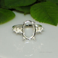 14x10 Oval Double Accent Pre-Notched Sterling Silver Ring Setting Sz7
