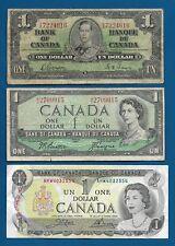 Canada $1 Dollar 1937 P-58d, $1 1954 P-74a, $1 QEII 1973 P-85c Banknotes