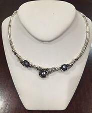 Hagit Gorali Sterling Silver Black Pearl Necklace choker #1272