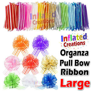 50mm Large Bow Organza Ribbon 20 Pull Bows Wedding Party Decor Gift Wrapping  UK
