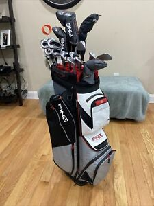 Ping Pioneer Cart Bag 2020 Silver/Red with Black/White 1398570 (Pre-owned)