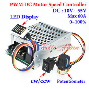 DC Motor Speed Controller 10-55V 12V 24V 60A PWM CW CCW Reversible Pulse Driver