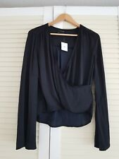 New URBAN OUTFITTERS UO Women Satin Wrap Blouse Size M Black