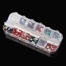 12 Compartment Empty Plastic Storage Case Nail Art Gems Beads Rhinestone Box Hot