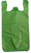 "200 Green Plastic T-shirt Shopping Bags Handles Retail Grocery 11.5""x6""x21"""