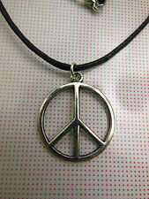 A Wax Cord Tibetan Silver CND Peace Sign Charm Necklace