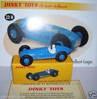 DINKY TOYS ATLAS AUTO DE COURSE TALBOT-LAGO BLEU CLAIR 1/43 REF 23H IN BOX