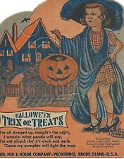 Vintage 1940's Rosen Halloween Lollipop Candy Card ~ Girl ~ Mint!