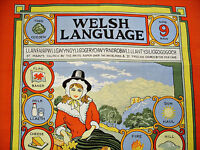 VINTAGE AUTHENTIC WELSH LANGUAGE RED BLUE COTTON KITCHEN TEA TOWEL