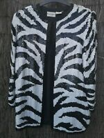 Vintage Frank Usher Evening Jacket Heavy sequin jacket size Small zebra print
