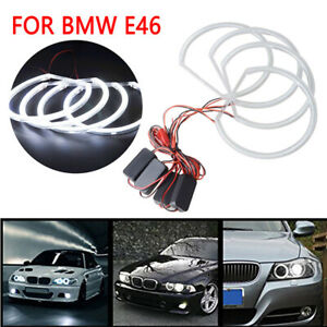 4 Pieces 131mm White CCFL LED Angel Eyes Halo Rings for BMW E36 E38 E39 E46 DRL