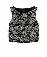 New Tibi Black & White Floral Crop Top UK4 - RRP £285