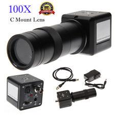 100X Digital Industrial CCD Microscope Camera BNC AV TV Video Zoom +C Mount Lens