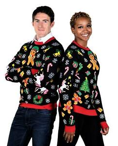 SoCal Look Women's Ugly Christmas Sweaters Gingerbread Black