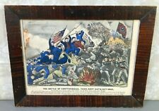 Civil War The Battle of Chattanooga 1863, TN Lithograph Currier & Ives Framed