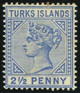 SG 65 TURKS & CAICOS ISLANDS 1893 - TWOPENCEHALFPENNY ULTRAMARINE - M/M