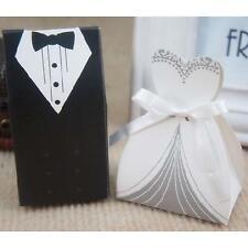 2Pcs Innovative Bride Groom Dress Tuxedo Wedding Party Supply Candy Paper Box