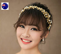 Women Girl Gold Leaf Wedding Bride Party Hair Headband Crown Tiara Prop Hoop