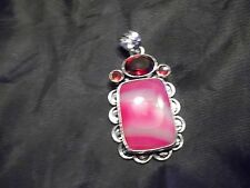 """BEAUTIFUL HANDCRAFTED LARGE AGATE & CHERRY RUBY PENDANT 2"""" HANDMADE JEWELRY"""
