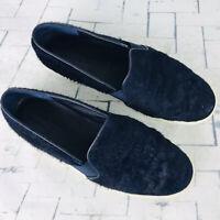 Vince Berlin Slip On Sneakers Calf Hair Navy Blue Twilight Loafers Platform 8
