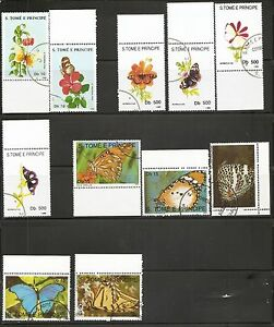 ST Thomas And Prince. Years 1988-90-92-93-96 Butterflies .5 Diff part sets. MNH