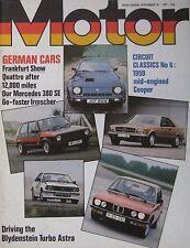 Motor magazine 26/9/1981 featuring Audi Quattro, Cooper Climax, TVR Tasmin