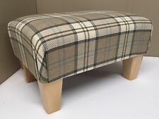 QUALITY BROWN AND BEIGE TARTAN FABRIC FOOTSTOOL/ POUFFES WITH WOODEN LEGS
