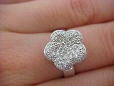 AMAZING PAVE DIAMONDS FLOWER DESIGNER RING HIGH QUALITY 14K WHITE GOLD 0.50 CTTW