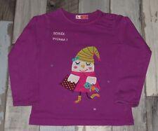 ~ Tee-shirt ML violet brodé DPAM fille 3 ans 94cm ~ MUS15