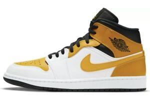 Nike Air Jordan 1 Mid University Gold White Black Yellow 554724-170 Size 10