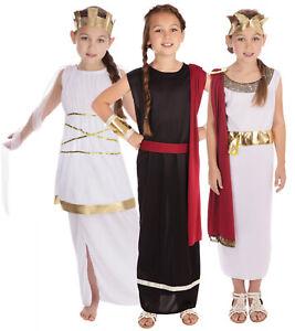Girls Kids Ancient Egyptian Roman Greek Toga Shawl Caesar Fancy Dress Costume