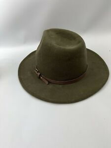 Hawkins men's fedora Indiana Jones style hat green polyester size M 59cm belted