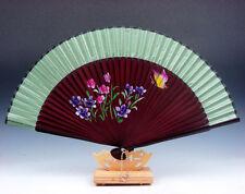 Beautiful Flowers & Butterfly Folding Fan Hand Fan Wall Decor w/ STAND #06231607