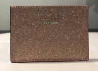 NWT authentic Kate Spade Burgess Court card holder wallet rose gold pink glitter