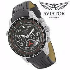 AVIATORS Pilot Watch Black Strap Military Mens Waterproof World Time Chronograph