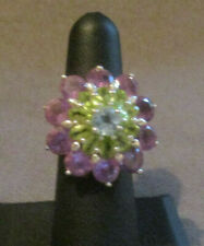 925 Silver (Sterling) Ring Flower Multi-Colored Stones Size 6