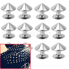 100 Pcs 10mm Metal Bullet Spike Studs Rivet Spikes Leathercraft DIY hu4d